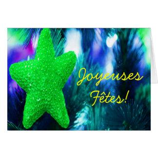Joyeuses Fêtes et bonneannée görar grön stjärna Hälsningskort