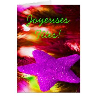 Joyeuses Fêtes et purpurfärgad stjärna för Hälsningskort