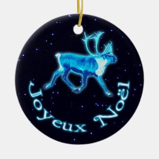 Joyeux Noёl - blåttCaribou renen Julgranskulor