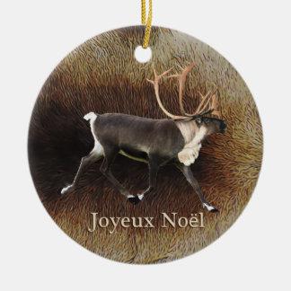 Joyeux Noёl - tjurCaribou (renen) Rund Julgransprydnad I Keramik