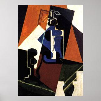 Juan Gris - Seltzerflaska och exponeringsglas Poster