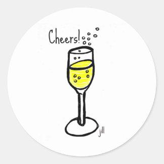 Jubel! Champagne skissar vid jill Runt Klistermärke