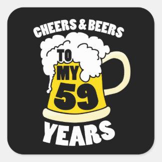 Jubel och öl till min 59 år 59th födelsedagdel fyrkantigt klistermärke