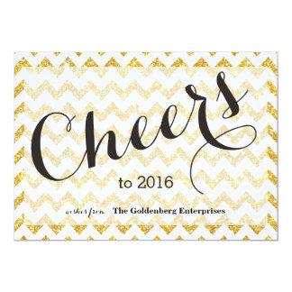 Jubel till 2016 guld- glittersparreaffär 12,7 x 17,8 cm inbjudningskort