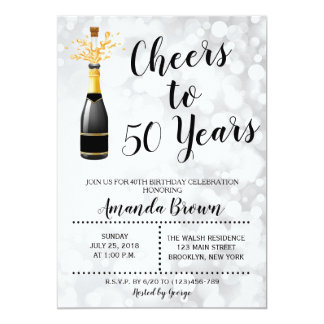 Jubel till 50 år champagnefödelsedaginbjudan 12,7 x 17,8 cm inbjudningskort
