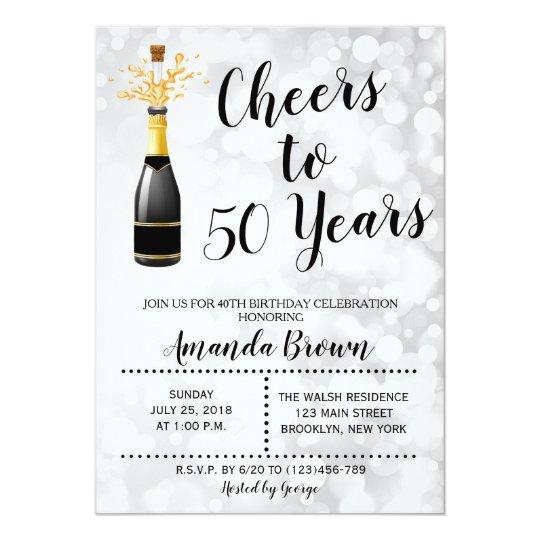 50 års inbjudan Jubel till 50 år champagnefödelsedaginbjudan 12,7 x 17,8 cm  50 års inbjudan