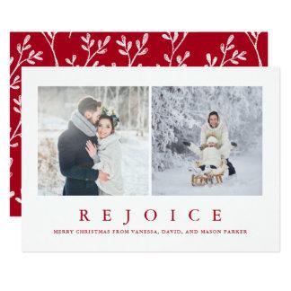 Jubla fotoet för | det moderna röda jul två 12,7 x 17,8 cm inbjudningskort