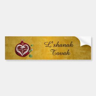 Judaica Pomegranatehjärta Hanukkah Rosh Hashanah Bildekal
