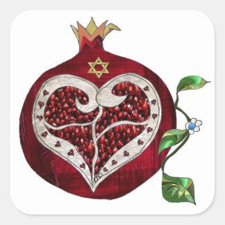 Judaica Pomegranatehjärta Hanukkah Rosh Hashanah Fyrkantigt Klistermärke