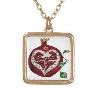 Judaica Pomegranatehjärta Hanukkah Rosh Hashanah Halsband Med Fyrkantigt Hängsmycke