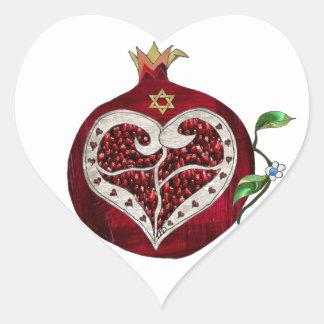 Judaica Pomegranatehjärta Hanukkah Rosh Hashanah Hjärtformat Klistermärke