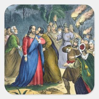 Judas förråder hans ledar-, från en bibel som by fyrkantigt klistermärke