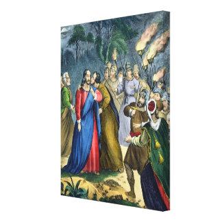Judas förråder hans ledar-, från en bibel som by s canvastryck