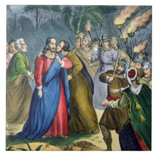 Judas förråder hans ledar-, från en bibel som by s kakelplatta