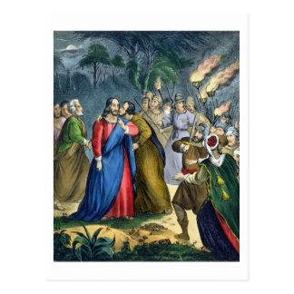 Judas förråder hans ledar-, från en bibel som by vykort