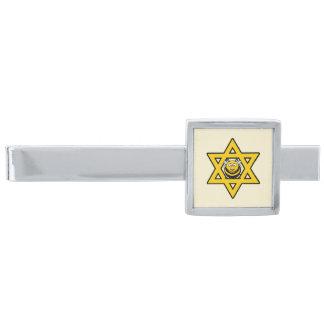 Judisk bidavidsstjärna slipsnål med silverfinish