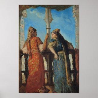 Judiska kvinnor på balkongen, Algiers, 1849 Poster