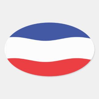 Jugoslavien flagga ovalt klistermärke