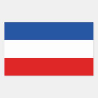 Jugoslavien/jugoslavisk flagga. Kungarike av Rektangulärt Klistermärke