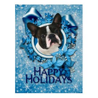 Jul - blåttsnöflingor - Boston Terrier Vykort
