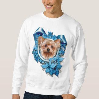 Jul - blåttsnöflingor - Yorkshire Terrier Långärmad Tröja
