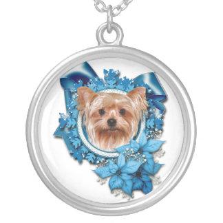 Jul - blåttsnöflingor - Yorkshire Terrier Silverpläterat Halsband