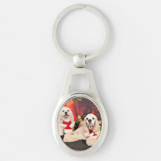 Jul - cockerspaniel - Toby, Havanese - lite T Ovalt Silverfärgad Nyckelring
