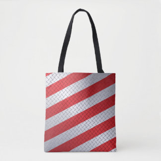 Jul Diamondplate med röda randar Tygkasse