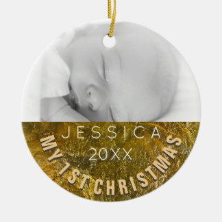 Jul för baby för fotoprydnad | 1st julgransprydnad keramik