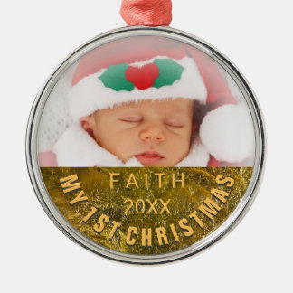 Jul för baby för fotoprydnad | 1st julgransprydnad metall