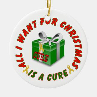 Jul för band för medvetenhet för barndomcancer julgransprydnad keramik