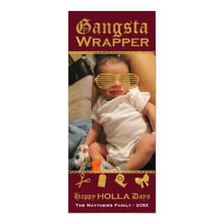 Jul för dagar för HOLLA för Gangsta omslag lycklig 10,2 X 23,5 Cm Inbjudningskort