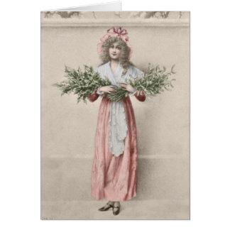 Jul för flicka för vintagemistletoejärnek hälsningskort