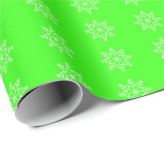 Jul för grönt för neon för Snowflakehelgdagmönster Presentpapper