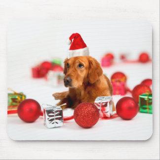 Jul för hatt för W röd Santa för guld- Mus Mattor