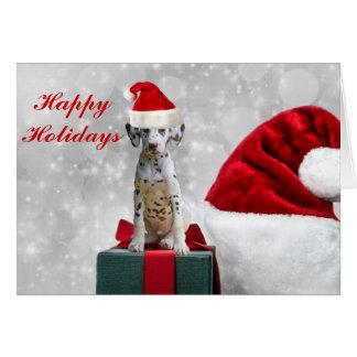 Jul för helgdag för Dalmatian valp för hund gullig Hälsningskort