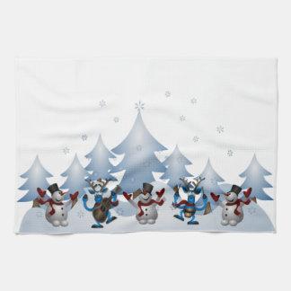 Jul för helgdag för snögubberenvinter kökshandduk