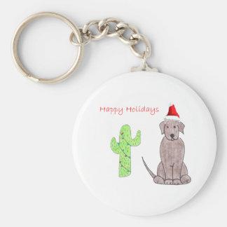 Jul för kaktus för choklad för Labrador Retriever Rund Nyckelring