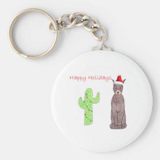 Jul för kaktus för DobermanPinscherbrunt Rund Nyckelring