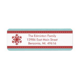 Jul för moderna blått för adressetikett glad lite returadress etikett