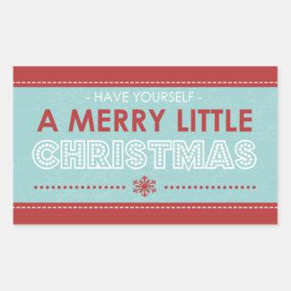 Jul för moderna blått för rektangel glad lite rektangulärt klistermärke