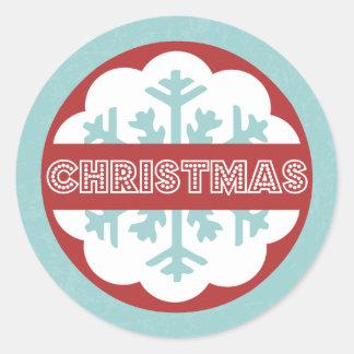 Jul för moderna blått för runda glad lite runt klistermärke
