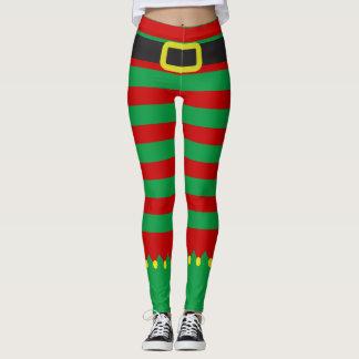 Jul för novelty för randig älvagrönt röd leggings