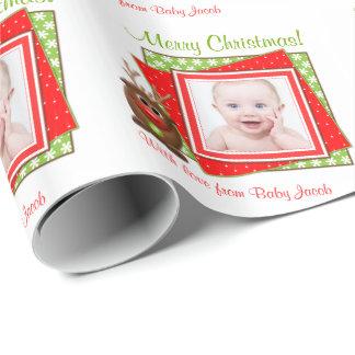 Jul för personlig för foto för tecknadrenbaby presentpapper