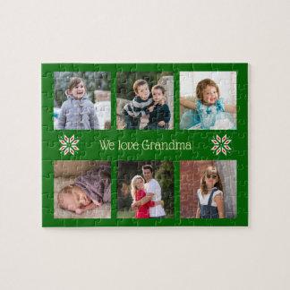 Jul för ram för grönt för text för familjfoto pussel