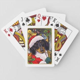 Jul för Santa hundtax som leker kort Spelkort