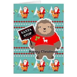 Jul för Sloth för gullig stollig för Santa stopp Hälsningskort