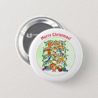 Jul för text för djur helgdaglivets träd standard knapp rund 5.7 cm