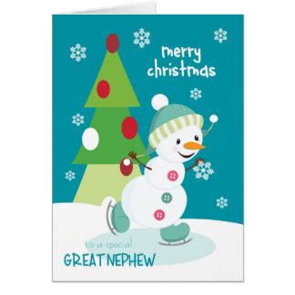 Jul för underbar brorsonskridskoåkningsnögubbe hälsningskort