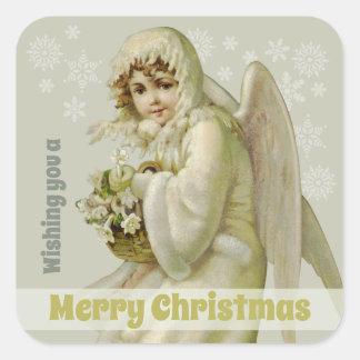 Jul för vintage för Victorianvinterängel CC0956 Fyrkantigt Klistermärke